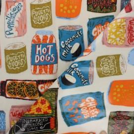 Tissu toile cirée Vintage food - Multicolore x 10cm