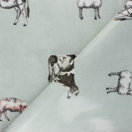Tissu toile cirée Douce ferme - vert pâle x 10cm