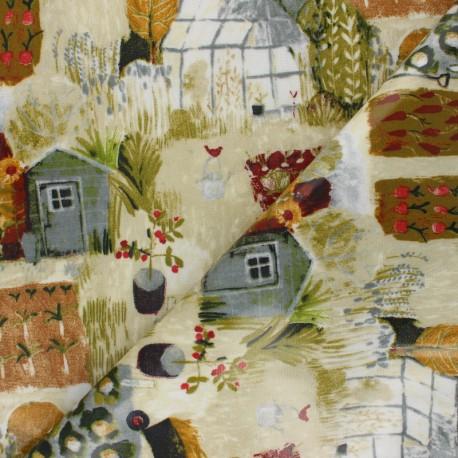 Tissu toile cirée Serre et potager - beige x 10cm