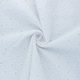 Openwork cotton voile fabric - white Floriane x 10cm