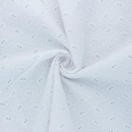 Tissu Voile de coton broderie anglaise Floriane - blanc x 10cm
