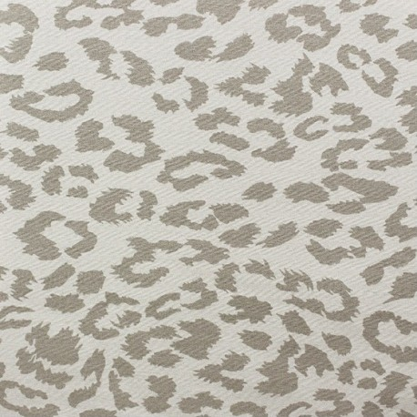 Gabardine Lycra Fabric - Léopard Taupe x 10cm