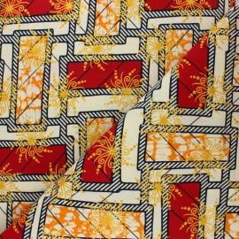 Tissu Wax à Paillettes Ouaké - rouge x 10cm