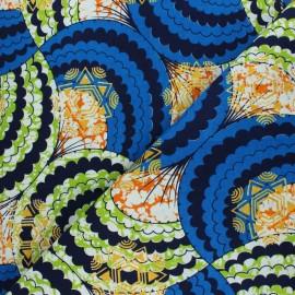 Tissu Wax à Paillettes Kouandé - bleu x 10cm