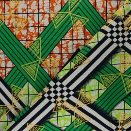Tissu Wax à Paillettes Kétou - vert x 10cm
