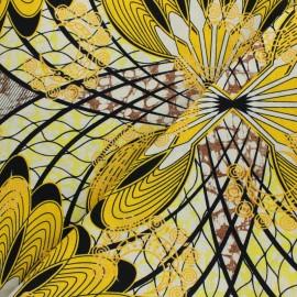 Glittery Wax print fabric - yellow Kalalé x 10cm