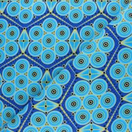 Tissu Wax à Paillettes Kouaba - bleu x 10cm