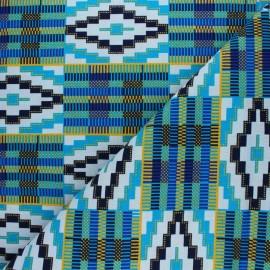 Glittery Wax print fabric - blue Aledjo x 10cm