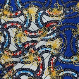 Tissu Wax à Paillettes Parakou - bleu x 10cm