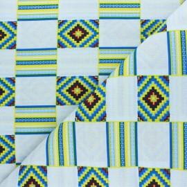 Glittery Wax print fabric - blue Mossey x 10cm