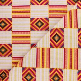 Tissu Wax à Paillettes Mossey - rouge x 10cm