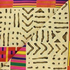 Glittery Wax print fabric - pink Mossey x 10cm