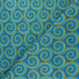 Tissu Wax à Paillettes Sékéré - bleu x 10cm