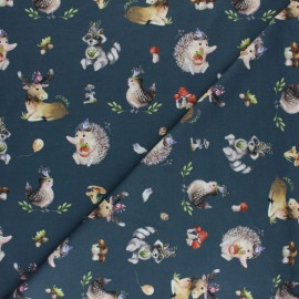 Stenzo Jersey cotton fabric - grey blue Harry et ses amis x 10cm