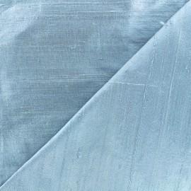 Tissu soie sauvage - bleu dragée x 10cm
