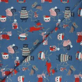 Stenzo Jersey cotton fabric - blue Amis d'hiver x 10cm