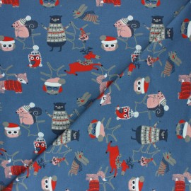 Tissu coton jersey Stenzo Amis d'hiver - bleu x 10cm