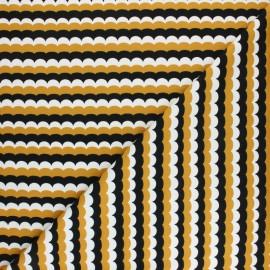 Tissu coton jersey Stenzo Ova - jaune moutarde x 10cm