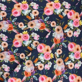 Stenzo French terry cotton fabric - navy blue Flowery x 10cm
