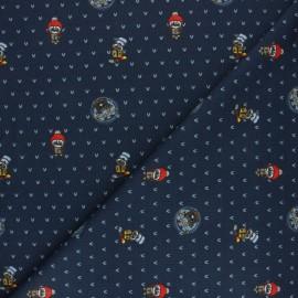 Tissu coton sweat léger Stenzo Funny birds - bleu marine x 10cm