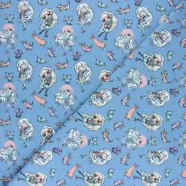 Stenzo French terry cotton fabric - blue Manga style x 10cm