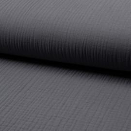 Tissu triple gaze de coton uni Lovely - gris x 10cm