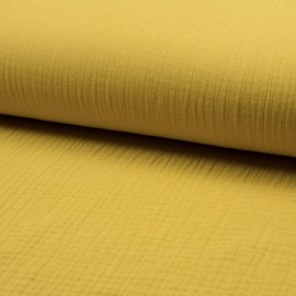 Plain Triple gauze fabric - yellow Lovely x 10cm