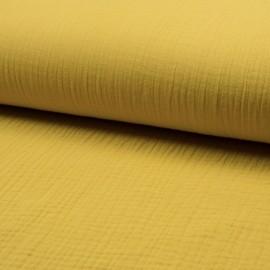 Tissu triple gaze de coton uni Lovely - jaune x 10cm