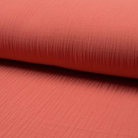Tissu triple gaze de coton uni Lovely - corail x 10cm