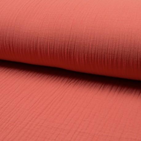 Plain Triple gauze fabric - coral Lovely x 10cm
