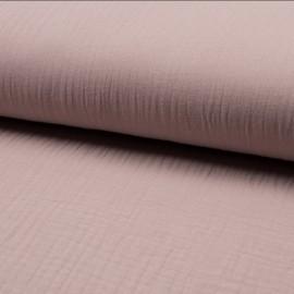 Tissu triple gaze de coton uni Lovely - rose pâle x 10cm