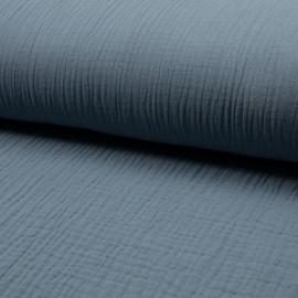 Tissu triple gaze de coton uni Lovely - bleuet x 10cm
