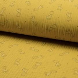 Tissu triple gaze de coton Girafe - jaune x 10cm