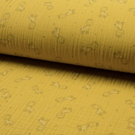 Triple gauze fabric - yellow Girafe x 10cm