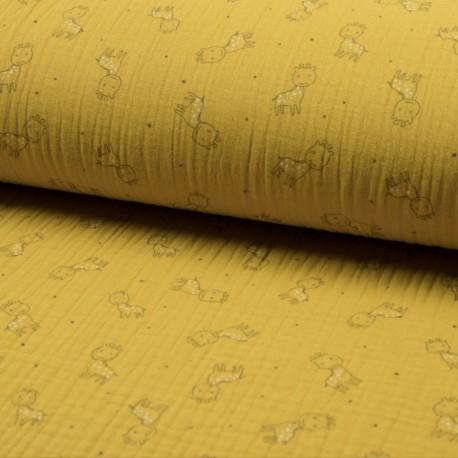 Triple gauze fabric - yellow Girafe x 10cm