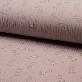 Tissu triple gaze de coton Girafe - rose pâle x 10cm