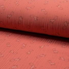 Tissu triple gaze de coton Girafe - corail x 10cm