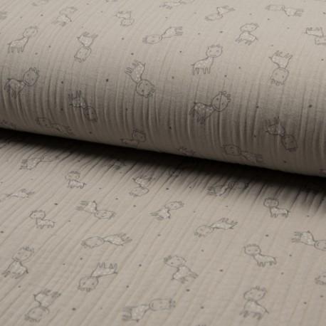 Triple gauze fabric - sand Girafe x 10cm