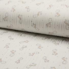 Tissu triple gaze de coton Girafe -  écru x 10cm