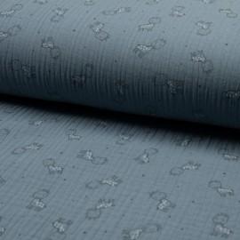 Tissu triple gaze de coton Girafe -  bleuet x 10cm