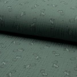 Tissu triple gaze de coton Girafe -  eucalyptus x 10cm