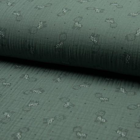 Triple gauze fabric - eucalyptus Girafe x 10cm