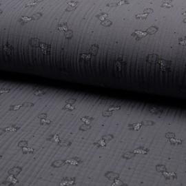 Tissu triple gaze de coton Girafe -  gris x 10cm
