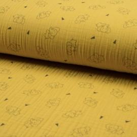 Tissu triple gaze de coton Éléphant - jaune x 10cm