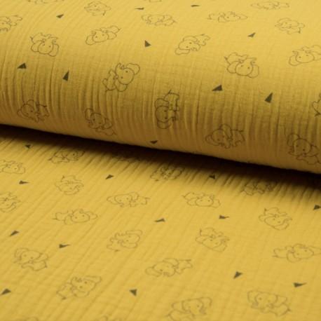 Triple gauze fabric - yellow Éléphant x 10cm