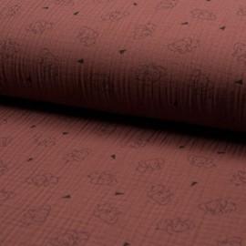 Tissu triple gaze de coton Éléphant - brique x 10cm