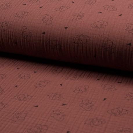 Triple gauze fabric - brick Éléphant x 10cm