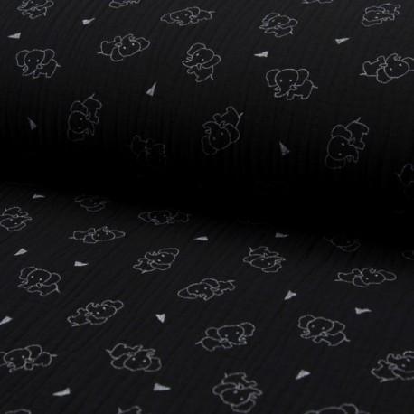 Triple gauze fabric - black Éléphant x 10cm