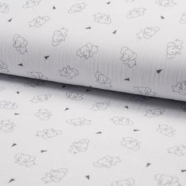 Tissu triple gaze de coton Éléphant - blanc x 10cm