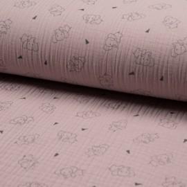 Tissu triple gaze de coton Éléphant - rose pâle x 10cm